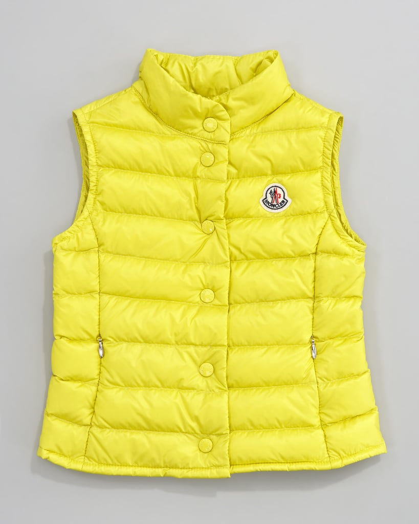 A yellow quilted vest ($270) works for Mardi Gras, and it's also a great year-round layering piece.
