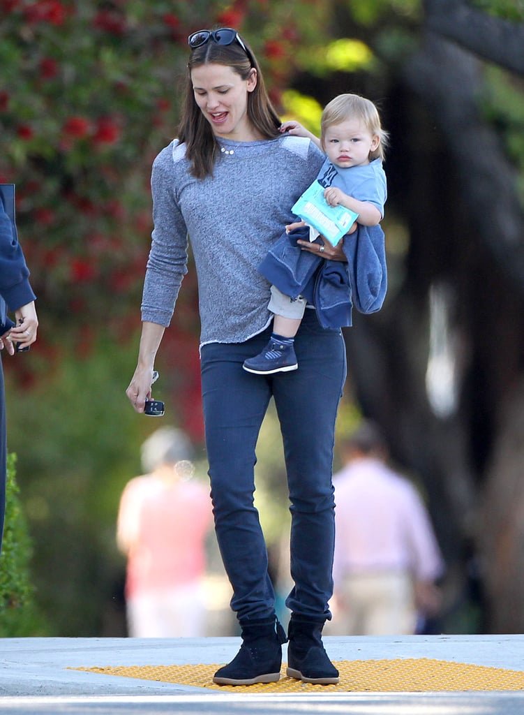 Jennifer Garner was out and about with her daughter Seraphina in LA yesterday and today she emerged with Samuel on her hip. While Jennifer was busy with the kids, it was revealed that Ben Affleck will be awarded a new title. Ben will receive the guy of the year award at Spike TV's Guys Choice Awards on June 8. He'll be honored among other stars like Jimmy Kimmel, Vince Vaughn, and Emilia Clarke. While Ben is busy getting recognized for his past work, Jen is taking on new projects. She's headed to Ohio next week to begin filming Draft Day. Jen is also reportedly in talks to join Steve Carell in Disney's Alexander and the Terrible, Horrible, No Good, Very Bad Day, which will be a live-action film adaptation of the children's book.
