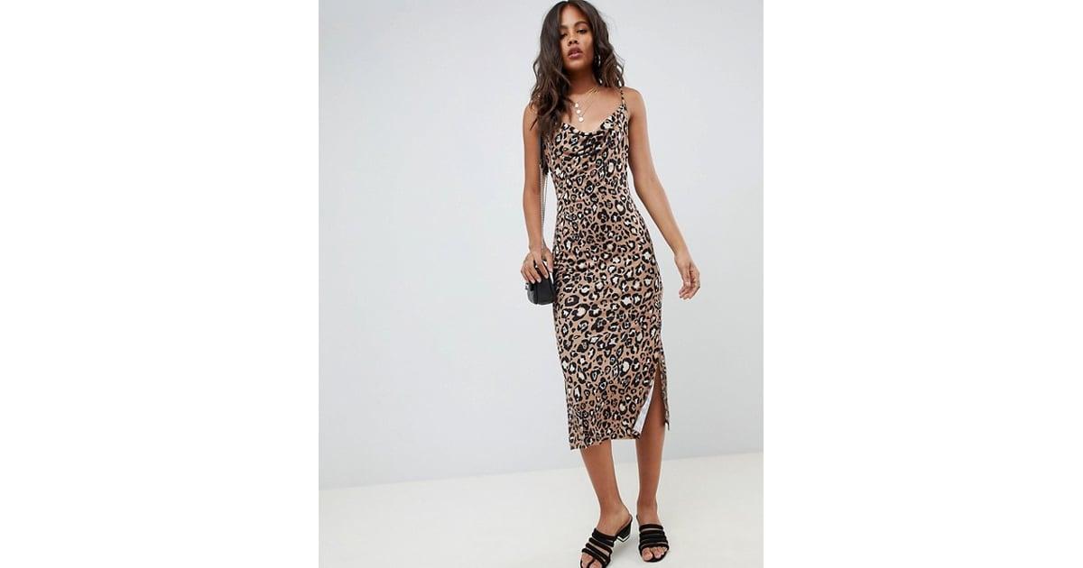 92751f759f63 ASOS Tall Cowl Front Midi Slip Dress | Leopard Print Dress Trend Fall 2018  | POPSUGAR Fashion Photo 15