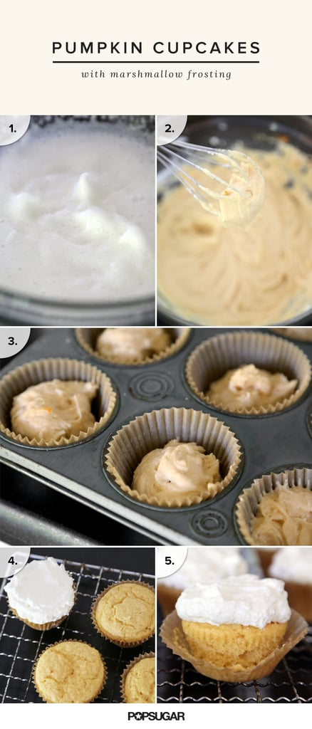 Fluffy Pumpkin Cupcakes With Marshmallow Frosting