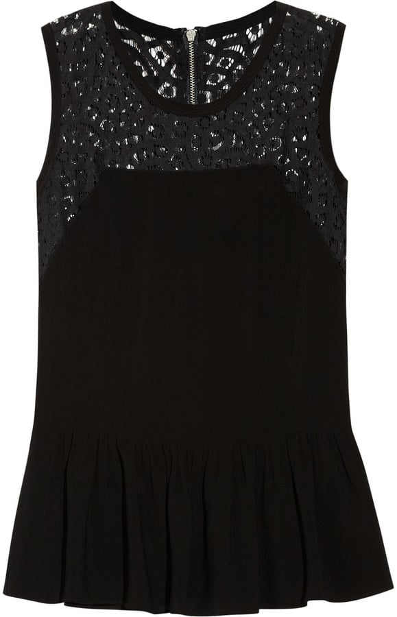 The detailing at the neckline makes this Rebecca Taylor Crepe and Lace Peplum Top ($215) as appropriate for a cocktail party as it is for a casual round of drinks with friends.