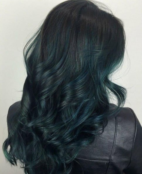 Dark Green Rainbow Hair