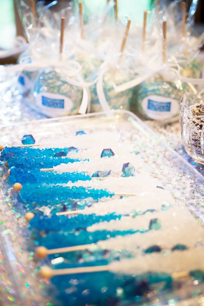 Using blue and white rock candy, Anna turned the party's dessert table into a Winter wonderland. Ice, ice, baby . . .