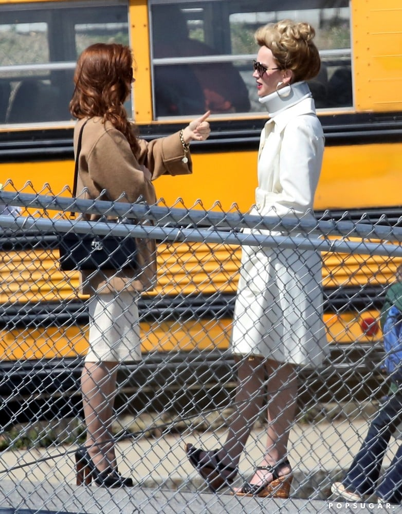 Jennifer Lawrence and Amy Adams got into character on Monday in Boston.