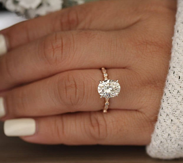 Tipsyweddings Moissanite Oval Forever Classic Engagement