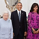 In April, Queen Elizabeth II joined Michelle and Barack in the Oak Room at her Windsor Castle estate before having a private lunch with them.