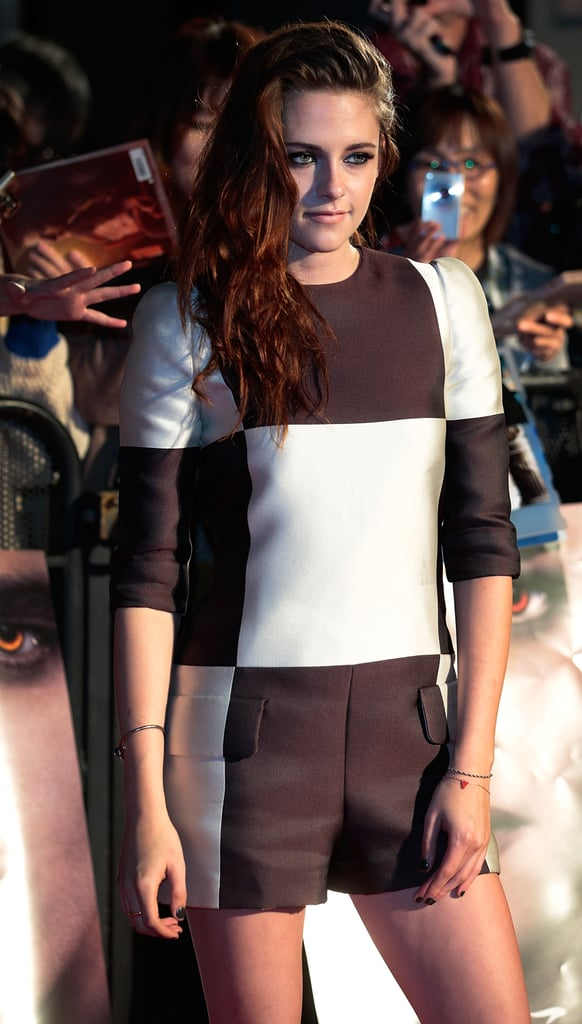 Kristen Stewart chose a black-and-white jumpsuit to promote Breaking Dawn Part 2 in Japan.