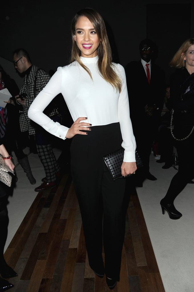 Jessica Alba posed inside the Valentino show on Tuesday.