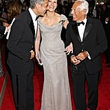 Julia flashed her famous smile with George Clooney and Giorgio Armani at the Costume Institute Gala in 2008.