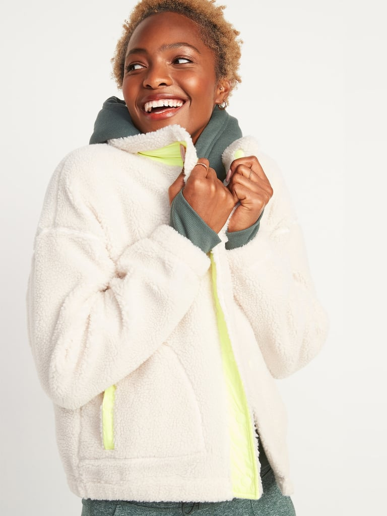 Cosy Sherpa Snap-Front Flurry Crop Jacket