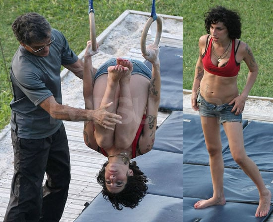 Photos of Amy Winehouse, Who Has Taken to Stealing Drinks, Doing Acrobatics in St. Lucia