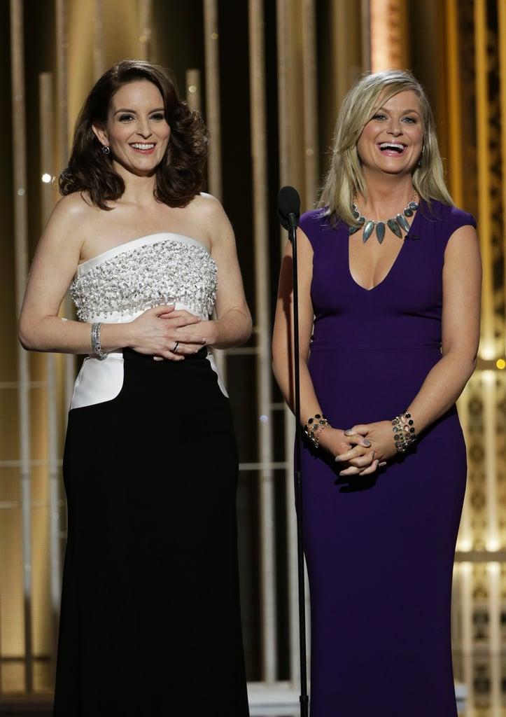 Amy Poehler and Tina Fey at the Golden Globe Awards 2015