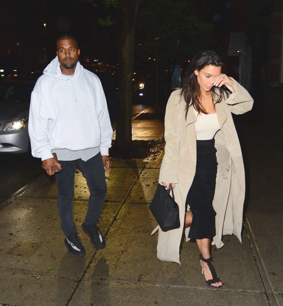 a7a4209bf9e3f Kim wore a polished black and beige look