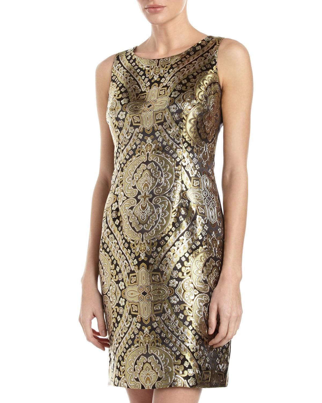 Chetta B Gold Jacquard Sheath Dress