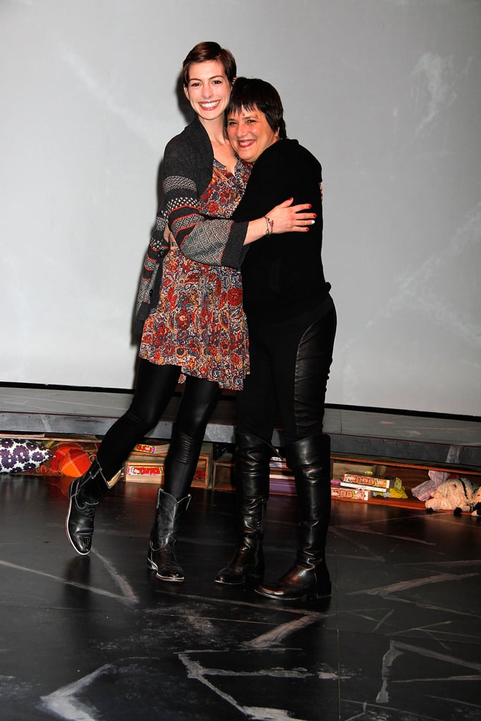 "Anne Hathaway shared a hug with writer Eve Ensler in NYC last night. Anne checked out an off-Broadway performance of Emotional Creatures, a new play based on the book by Eve, who also wrote The Vagina Monologues. The production officially opened on Monday, which happened to also be Anne's 30th birthday. She had a week packed with events including the Women's Media Awards, where Eve was also in attendance, and a special screening of Lincoln. Anne fit in time with her husband, Adam Shulman, yesterday, when they went shopping at a children's store together. The couple are reportedly still in the ""honeymoon phase"" following their gorgeous Big Sur wedding in September."