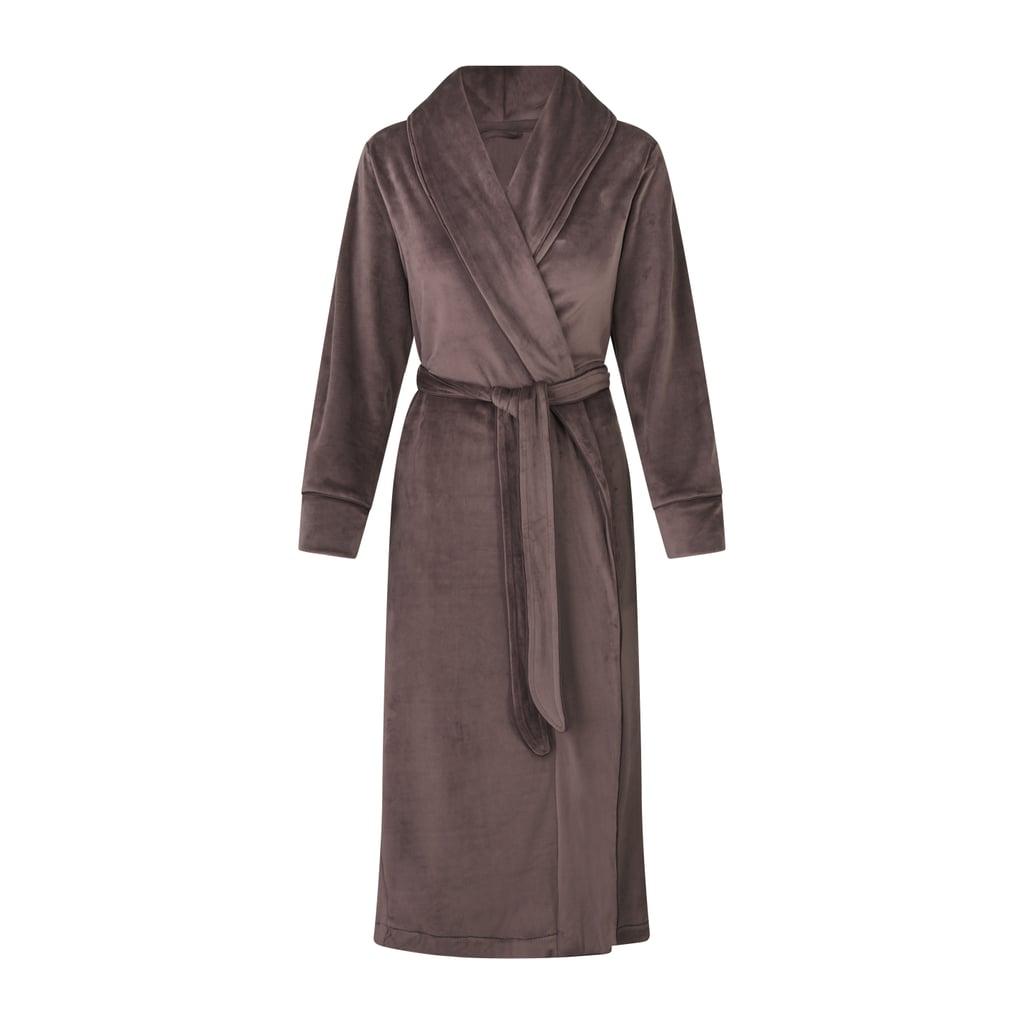 Kim Kardashian Skims Velour Long Robe in Amethyst