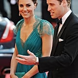 In May 2012, William guided Kate through the red carpet crowd as they arrived at the BOA Olympic Concert.