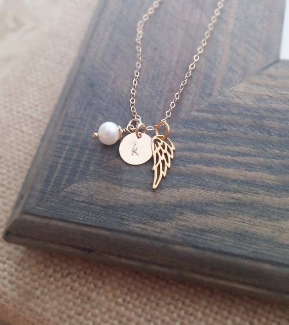 Angel Wing Initial Necklace