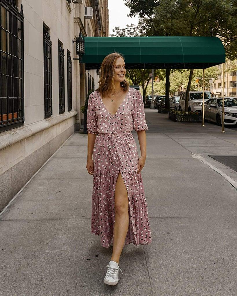The Drop Blush Pink Floral V-Neck Button-Down Tiered Maxi Dress by @charlottebridgeman