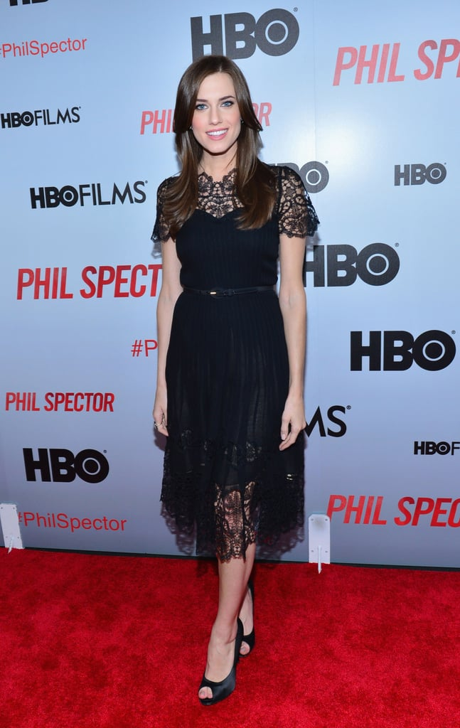 Allison Williams exuded dark glamour in a black lace Oscar de la Renta dress at the Phil Spector NYC premiere.