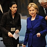 Here at the UN in 2009, Abedin spoke with Hillary Clinton during a council session on women and sexual violence.