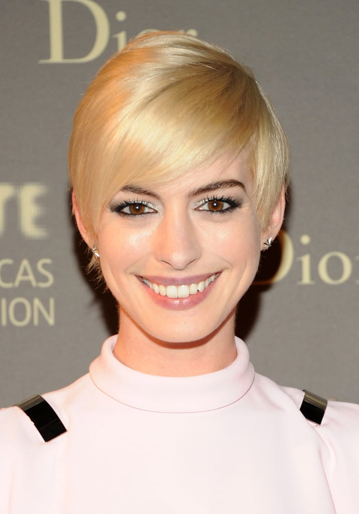 Anne Hathaway notoriously cut her hair on camera for her role as Fantine in Les Misérables and then shocked everyone when she dyed her crop platinum for the Met Gala, only to color it back to brunette just weeks later.