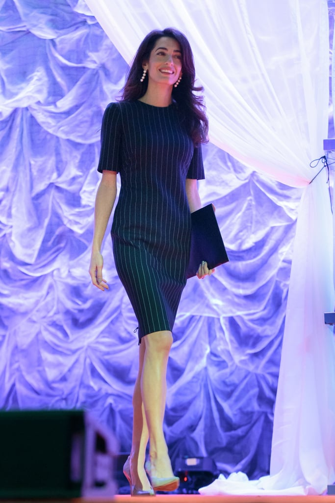 Amal Clooney, in a Pinstripe Dress, Delivered a Speech at the Texas Conference For Women
