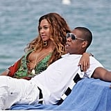 Beyoncé put a loving arm around her husband, Jay Z, while yachting on the French Riviera in June 2007.