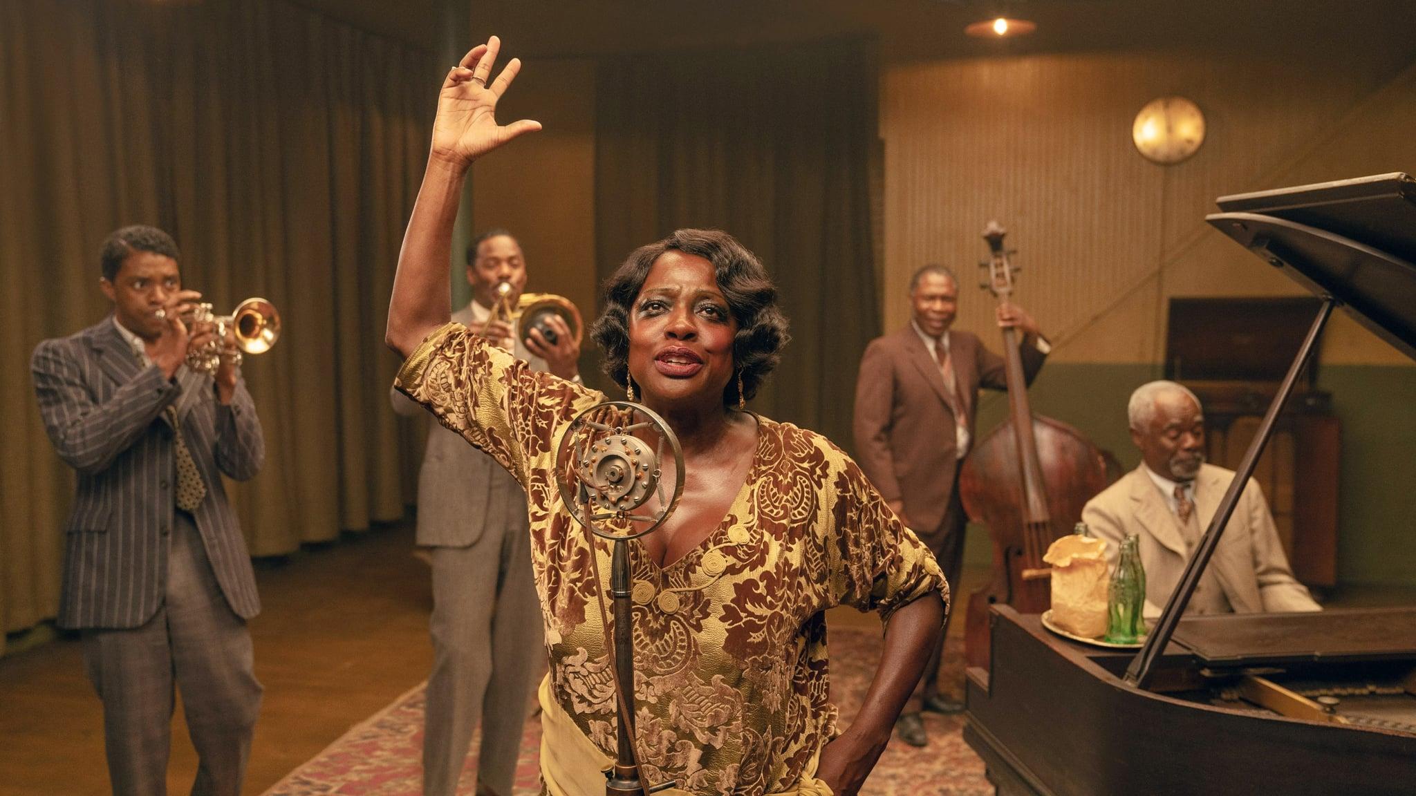 MA RAINEYS BLACK BOTTOM, from left: Chadwick Boseman, Colman Domingo, Viola Davis as Ma Rainey, Michael Potts, Glynn Turman, 2020. ph: David Lee /  Netflix / Courtesy Everett Collection