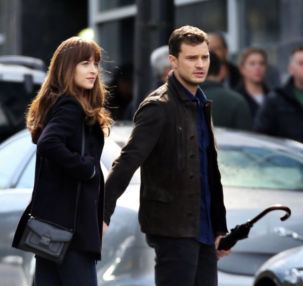 It's hard to tell when he's playing Christian, or just being Dornan on the set.