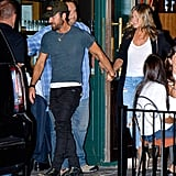 Low-key is how Jen and Justin roll. The two left a restaurant in the West Village in 2016 wearing jeans and white t-shirts.