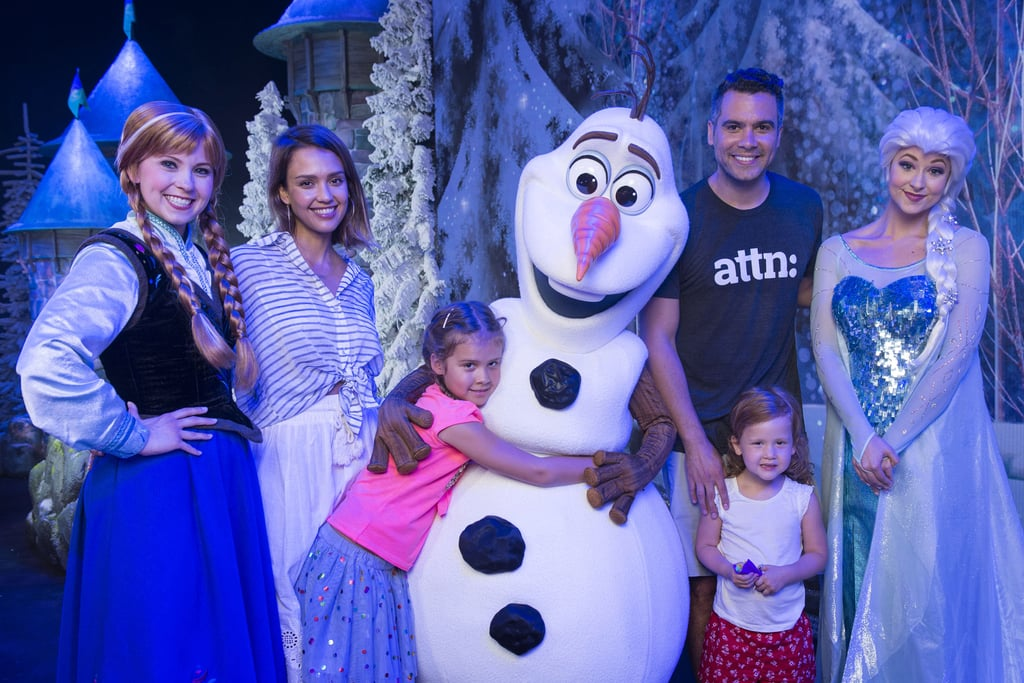 The foursome posed with Frozen's Anna, Olaf, and Elsa at Disney's Hollywood Studios theme park in Lake Buena Vista, FL, in June 2015.