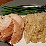 Chicken, asparagus, and risotto.