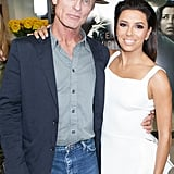 Eva Longoria posed with Ed Harris at the LA premiere of Frontera on Thursday.