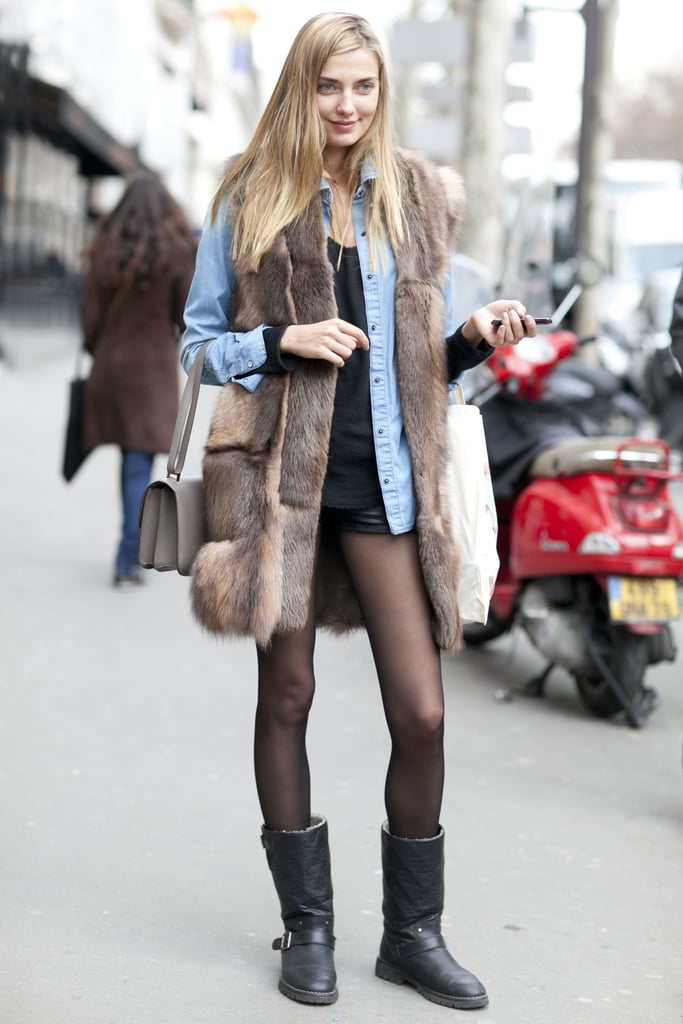 The quintessential street-style uniform: cool-girl layers in the form of denim and fur.