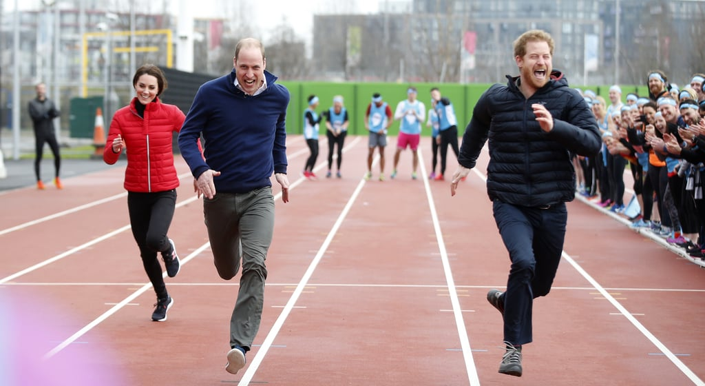 """Prince William, Prince Harry, and Kate Middleton hit the field at Queen Elizabeth Olympic Park in London on Sunday  in support of their mental health initiative, the Heads Together foundation. The trio joined 150 volunteers, who are gearing up for the 2017 London Marathon, in running the first leg of a five person relay at the London Marathon Community Track. Before the race, William grabbed the back of his thigh and joked, """"Oh, my hamstring."""" Harry ended up winning the race with William coming in second and Kate placing third. """"You nearly beat me!"""" William jokingly told his sporty wife at the finish line. Following the race, the royals stopped by the Copper Box Arena, where they talked to team members about their preparations for the marathon and explained how all 38,000 runners can help turn the event into the """"mental health marathon."""" The London Marathon will take place on April 23, and if it's anything like last year's, we're in for a real treat.      Related:                                                                                                           Everything We Know About Prince Harry and Meghan Markle's Royal Relationship"""