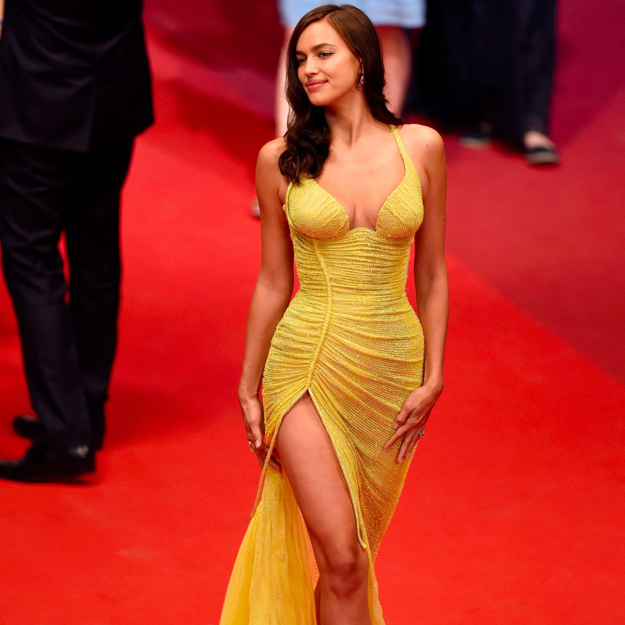 1ada5833bf7b6 Irina Shayk Yellow Versace Dress at Cannes