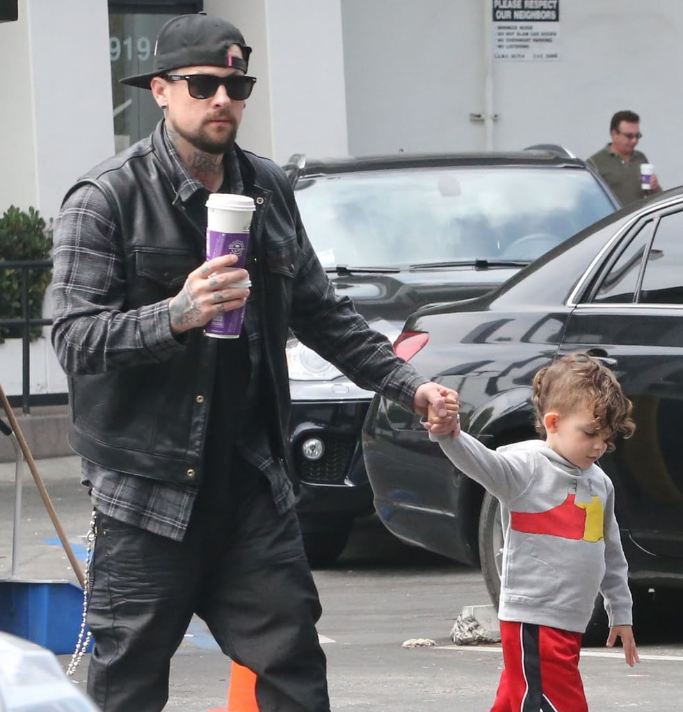 Joel Madden went on a coffee run with his son Sparrow in LA on Sunday.