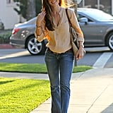 Minka Kelly gave us a denim look to emulate for everyday in a breezy button-up and curve-hugging flares.