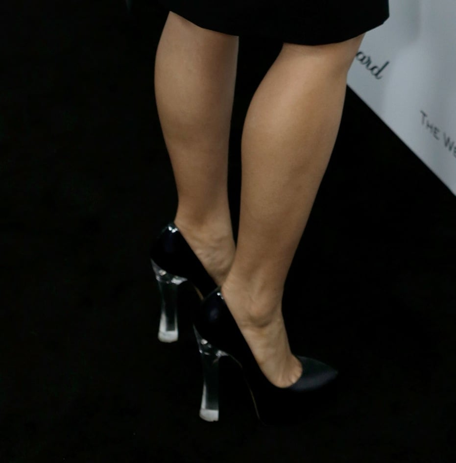 The black pumps Salma Hayek wore to the Weinstein party were all about the Lucite heels.