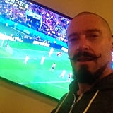 """Hugh Jackman said he was """"ADDICTED"""" to watching the game on Sunday. Source: Instagram user thehughjackman"""