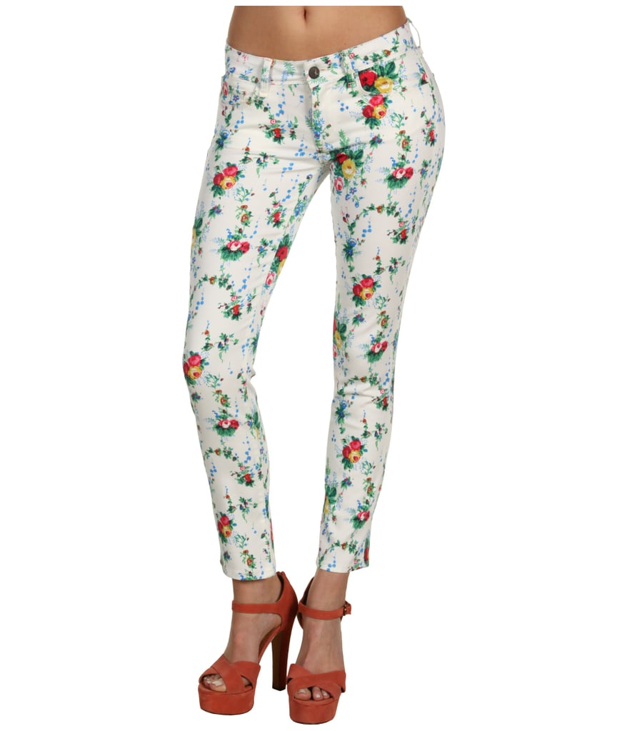"You had us at ""colorful florals."" Mavi Jeans Serena Low-Rise Super Skinny Ankle in White Retro Print ($69, originally $98)"