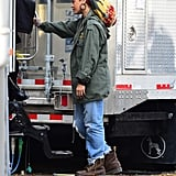 Rihanna on the set on Nov. 2.