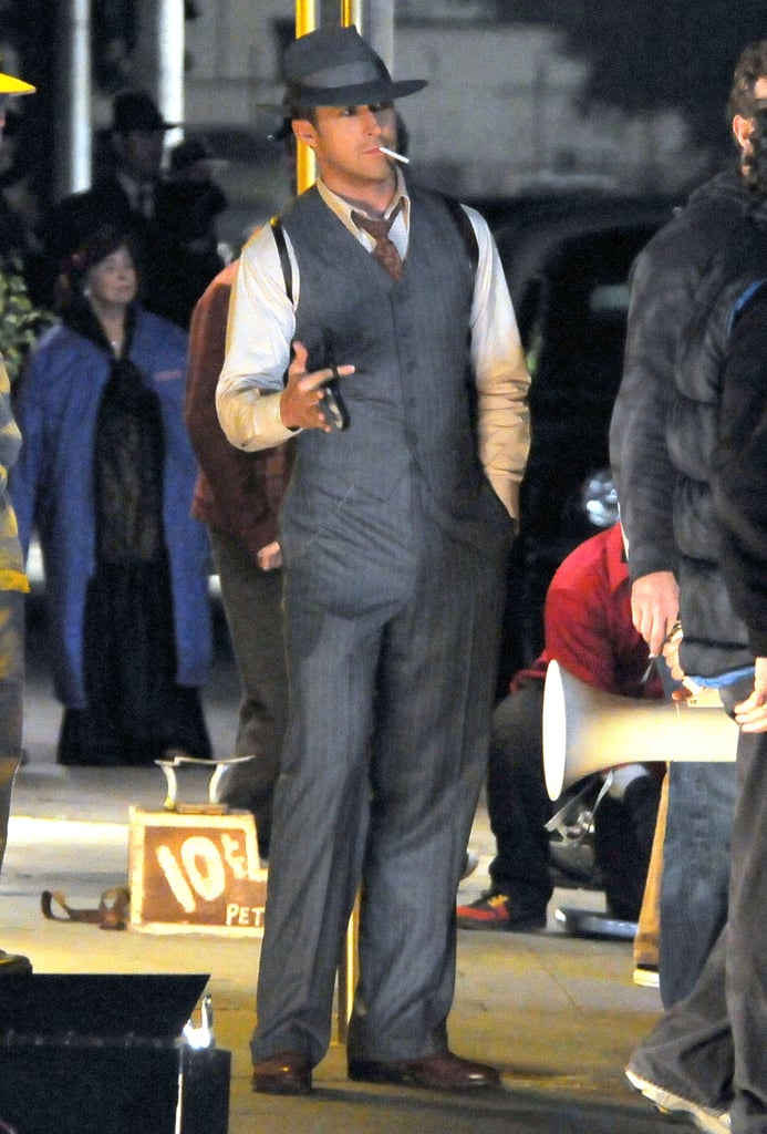 Ryan Gosling looked handsome between takes.