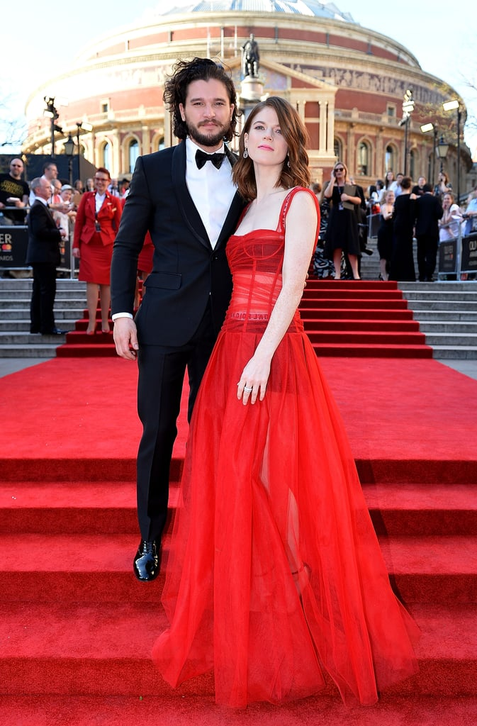 Kit Harington and Rose Leslie made a rare appearance at the Olivier Awards in London on Sunday. The pair — who haven't hit up a red carpet since they made their debut as a couple at the event last year — stunned as they graced the steps of Royal Albert Hall. Dressed in a red gown, Rose practically floated as she made her way inside the fete with Kit, who looked dapper in a black tux.       Related:                                                                                                           Yes, Kit Harington and Rose Leslie Are Wildly in Love Off Screen               While we haven't seen Kit and Rose out and about together since last October, Kit is currently filming BBC's new drama Gunpowder, while Rose plays the lead role in The Good Wife's spinoff, The Good Fight. Oh, how we've missed these two!