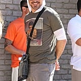 Robert Downey Jr. had his hood on at Joel Silver's Memorial Day party in LA.