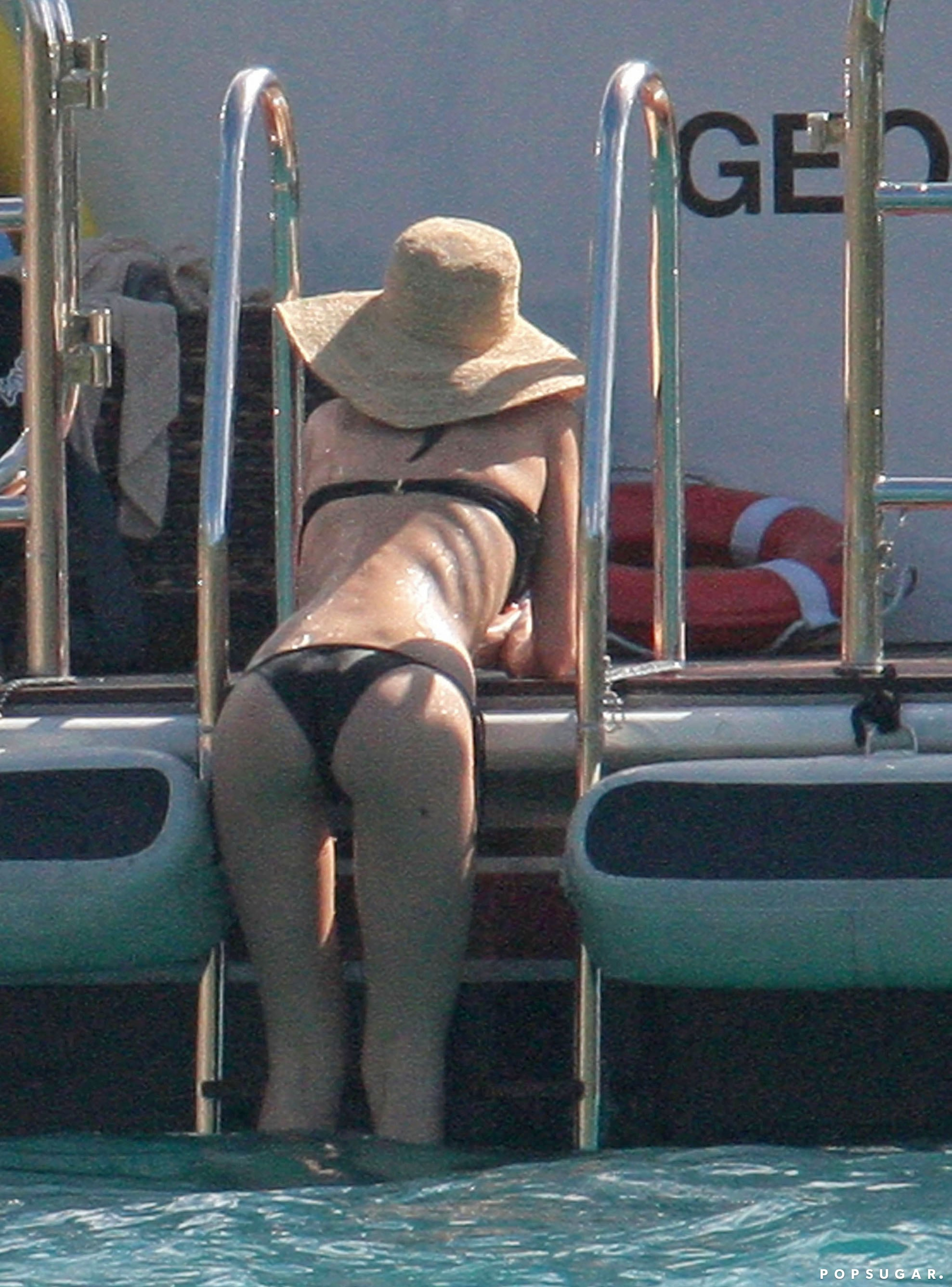 She showed off her backside on a yacht in St. Barts in January 2010.