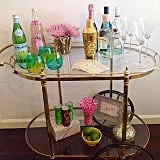 The finds: all the glasses and accessories seen on this gorgeous bar setup.