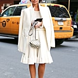 Miroslava Duma wowed in a creamy white, ladylike ensemble.