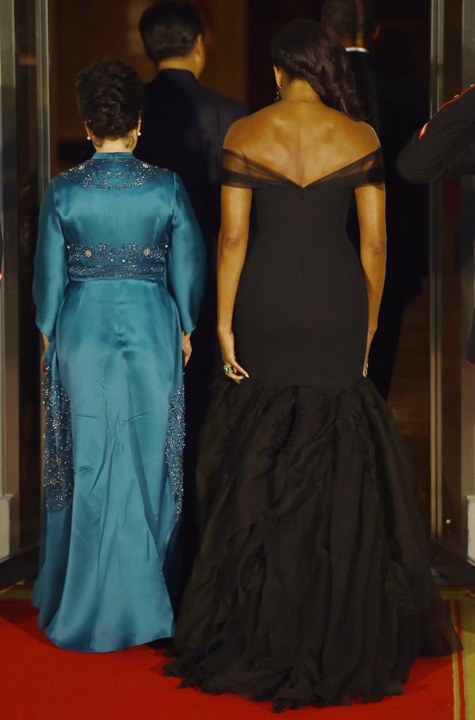 Michelle Obama S Black Dress At State Dinner Popsugar